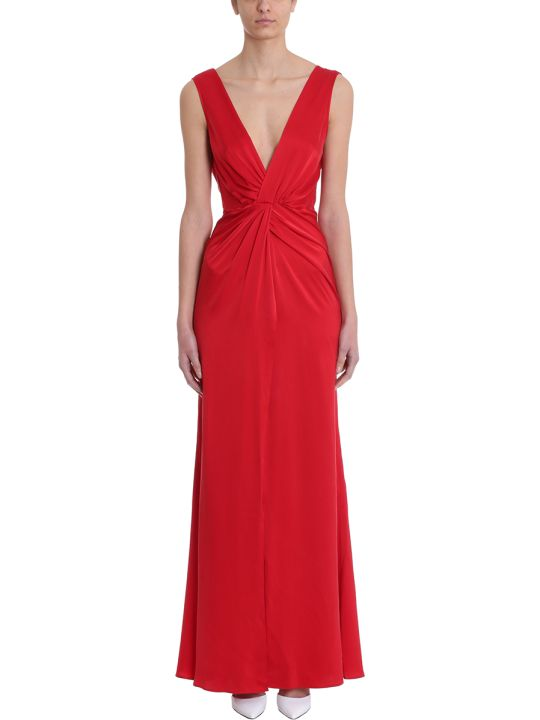 AMIRI Red Silk V Neck Dress