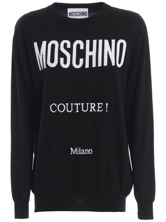 Moschino Logo Intarsia Black Cotton Sweater 09070504a2555