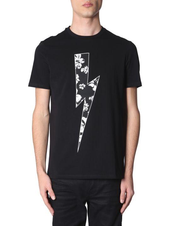 Neil Barrett Flower Bolt Printed T-shirt