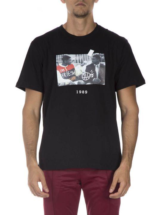 Throw Back Black Cotton T-shirt