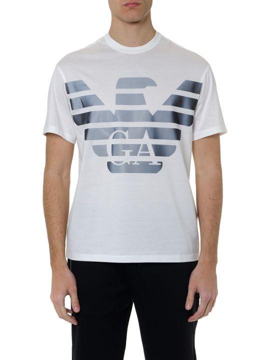 Emporio Armani White Cotton T Shirt With Rubber Logo Print
