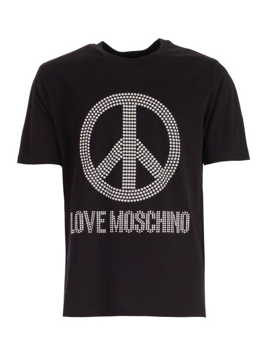 Love Moschino T-shirt S/s W/peace Logo And Studs