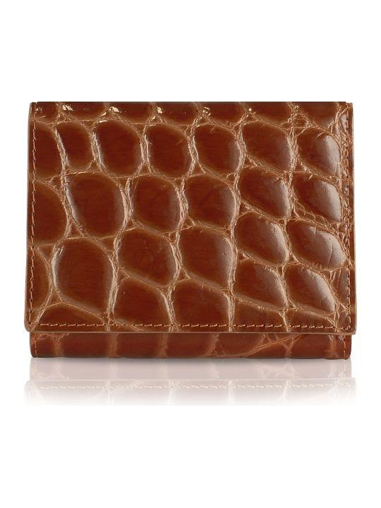 Fedon 1919 Giorgio Fedon 1919 Spiga - Women's Brown Croc Stamped Calfskin Small Wallet