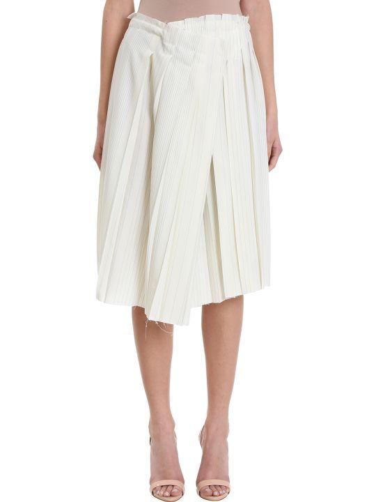 Maison Flaneur Asymmetric White Wool Skirt