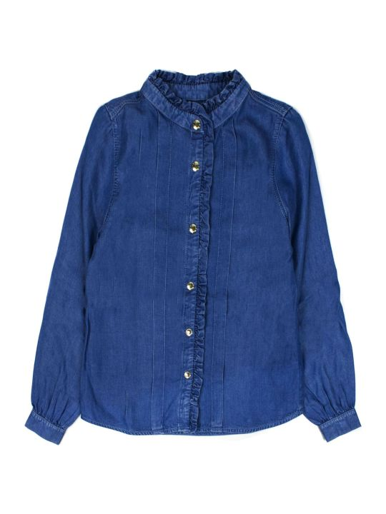 Chloé Blue Ruffle-trimmed Denim Shirt