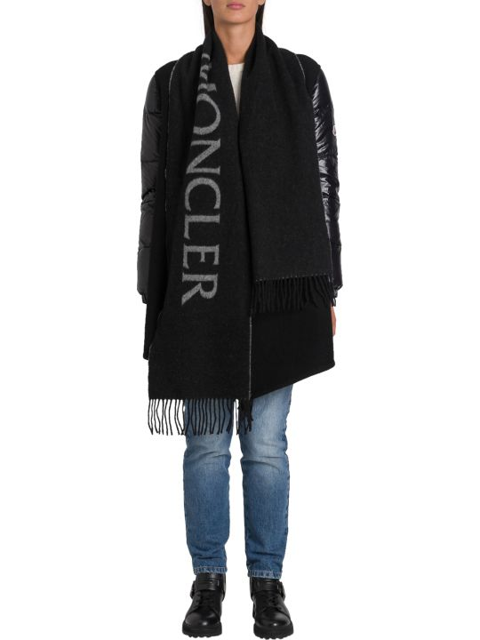 Moncler Cape With Duvet Sleeves And Fringe