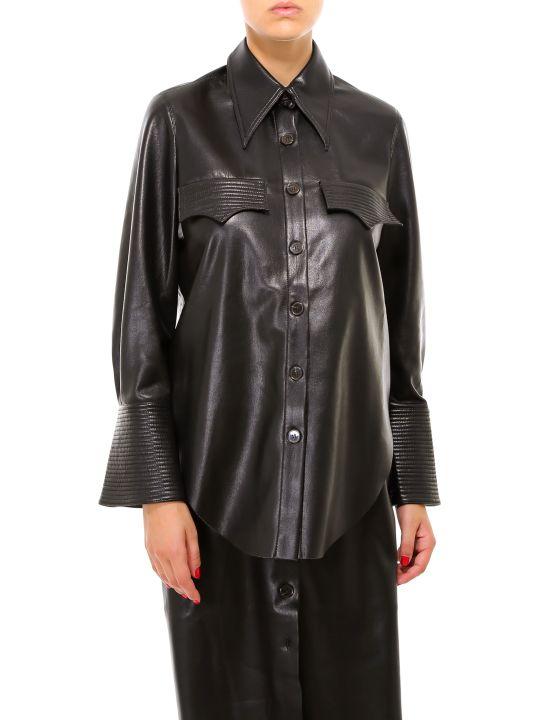 Nanushka Black Vegan Leather Shirt