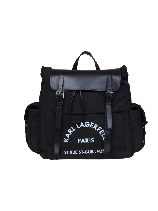 Karl Lagerfeld Karl Lagerfel Backpack Rue St Guillaume In Nylon And Black Leather