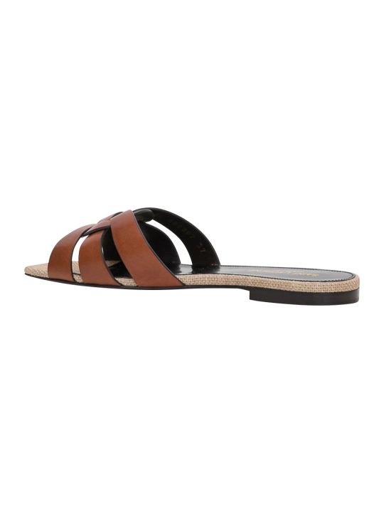 Saint Laurent Nu Pieds 05 Slide Sandals In Calf Leather