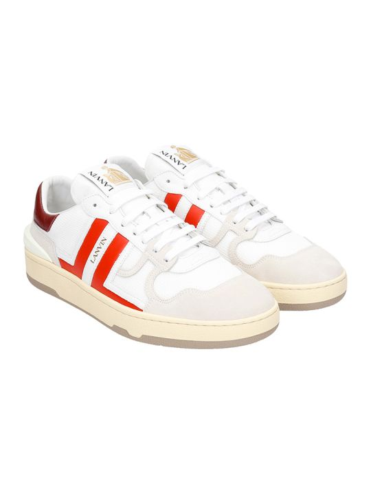 Lanvin Clay Sneakers In White Leather And Fabric