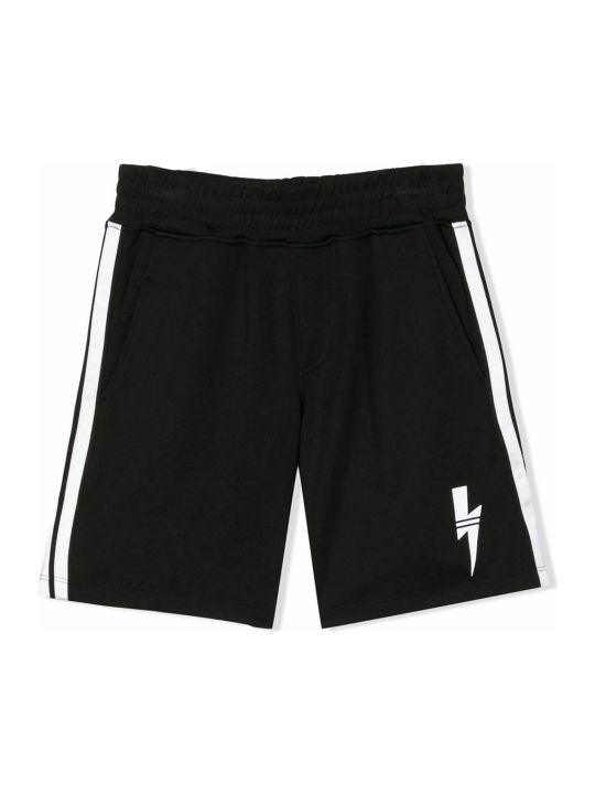 Neil Barrett Black Cotton Track Shorts