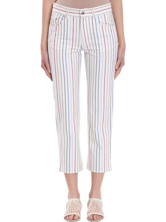Sonia Rykiel Boyfriend Multi Stripe White Cotton Trousers