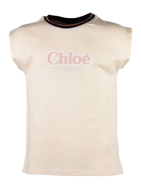 Chloé Powder Pink Logo Detail Cotton Jersey T-shirt