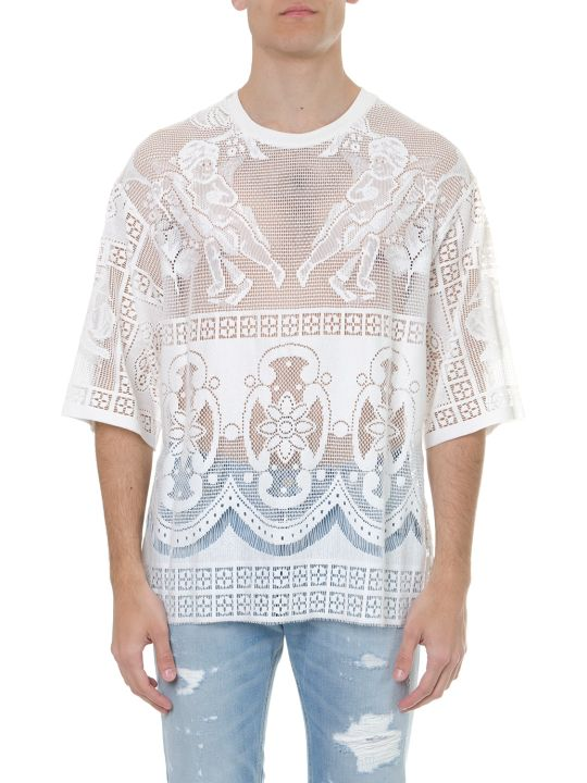 Dolce & Gabbana White Cotton Embroidered T Shirt