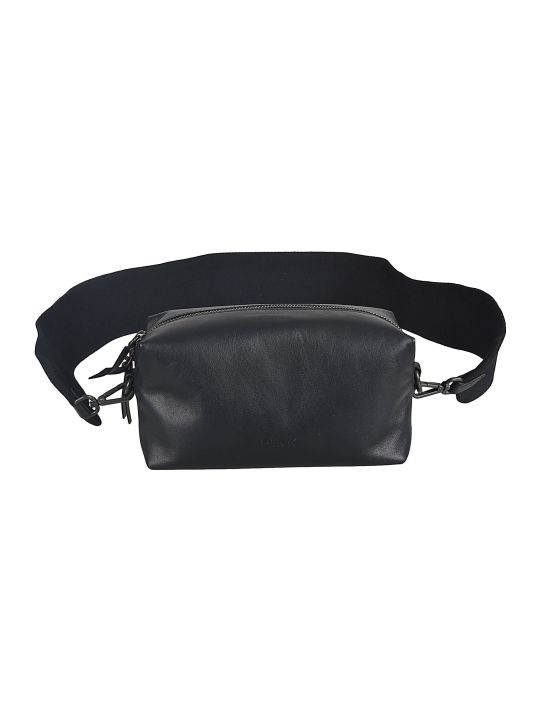 Y's Wide Strap Leather Shoulder Bag