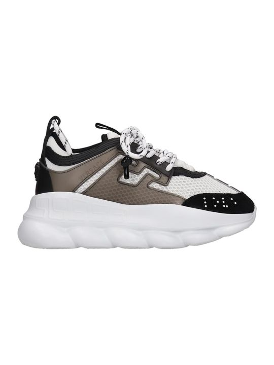 Versace Chain Reaction Sneakers In White Tech/synthetic