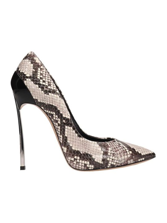 Casadei Python Print Leather Blade Decollete