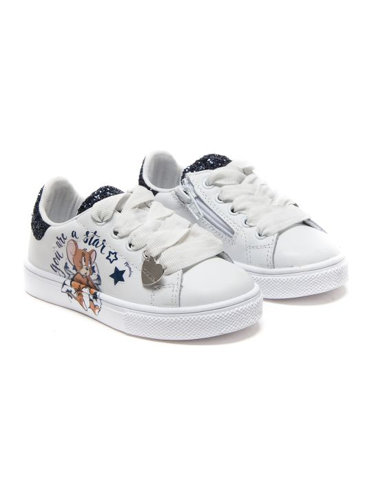 Monnalisa Blue Star Eco-leather+glitter Sneakers