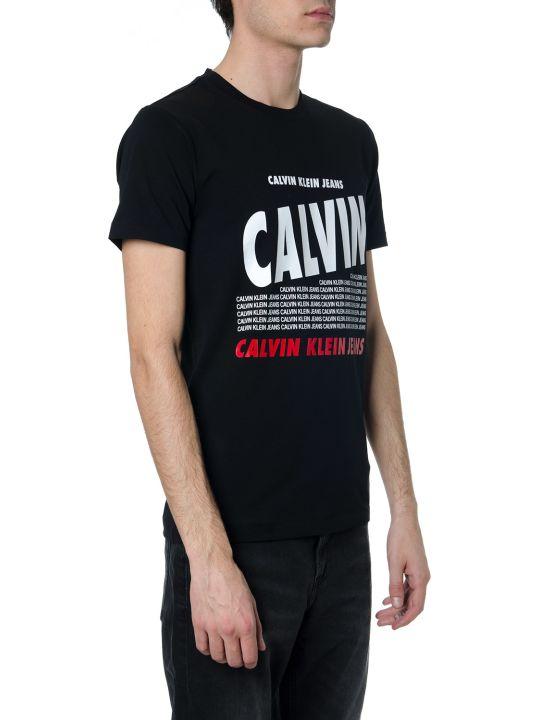Calvin Klein Black Cotton T-shirt With Logo Print