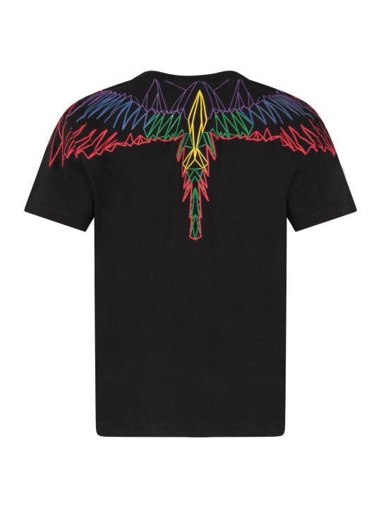 Marcelo Burlon Black Boy T-shirt With Colorful Iconic Wings