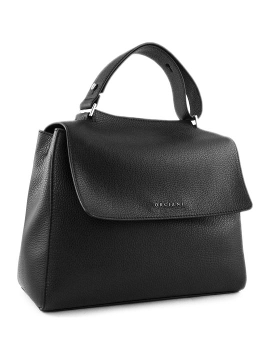 Orciani Black Leather Sveva Bag