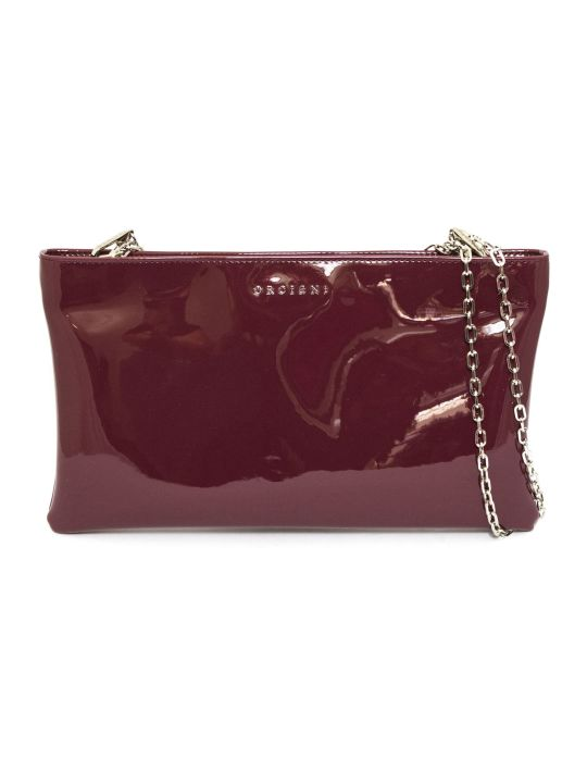 Orciani Clutch Bag In Red Patent Leather
