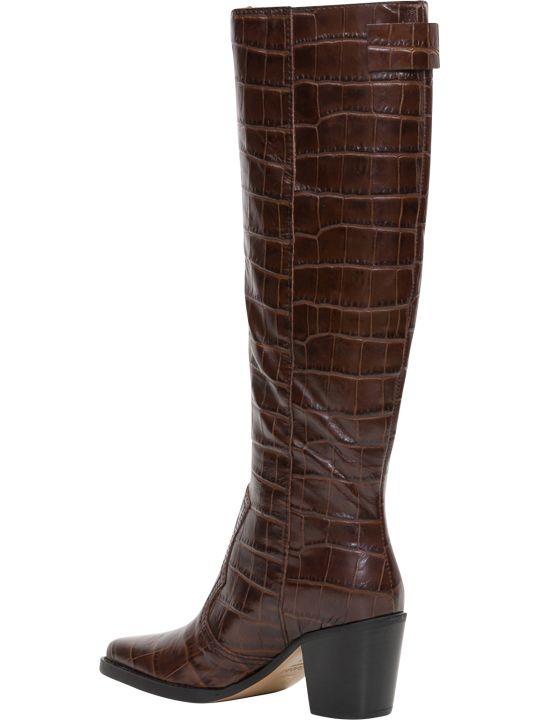Ganni Mock Croc Western Boots
