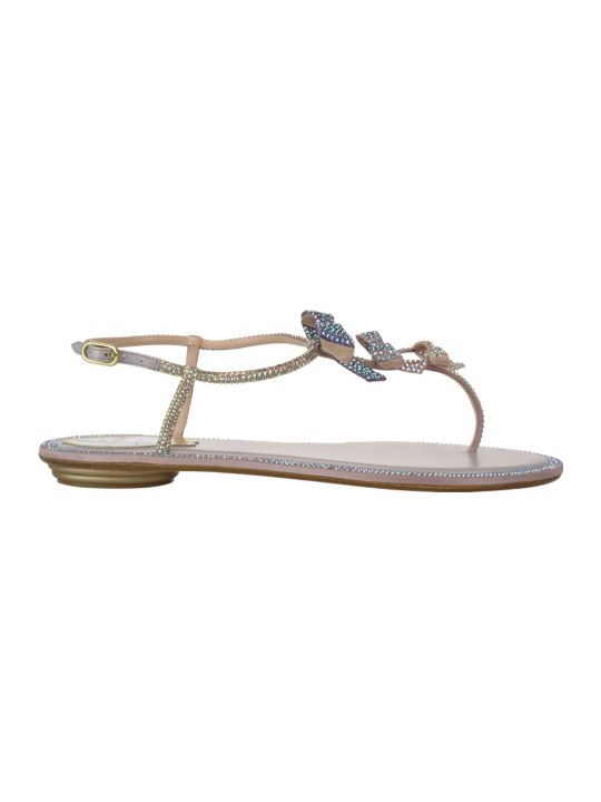 René Caovilla Bow Detail Thong Sandals