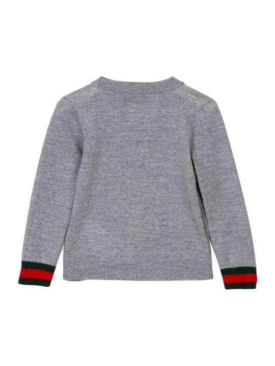 Gucci Grey Cardigan With Multicolor Details