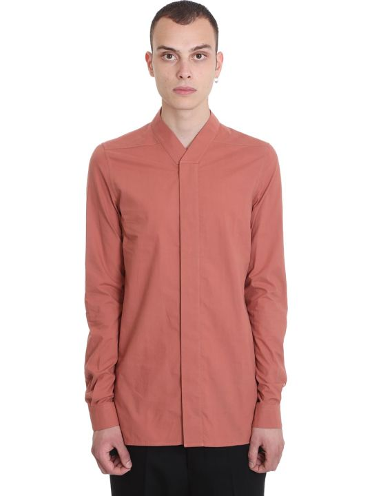 Rick Owens Faun Shirt Shirt In Rose-pink Cotton