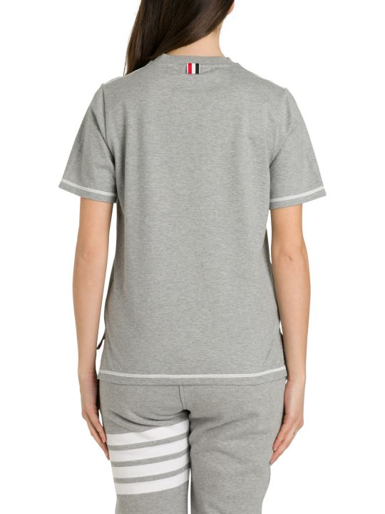 Thom Browne Ss Side Slit Tee In Medium Weight W/contrast Cover Stitch