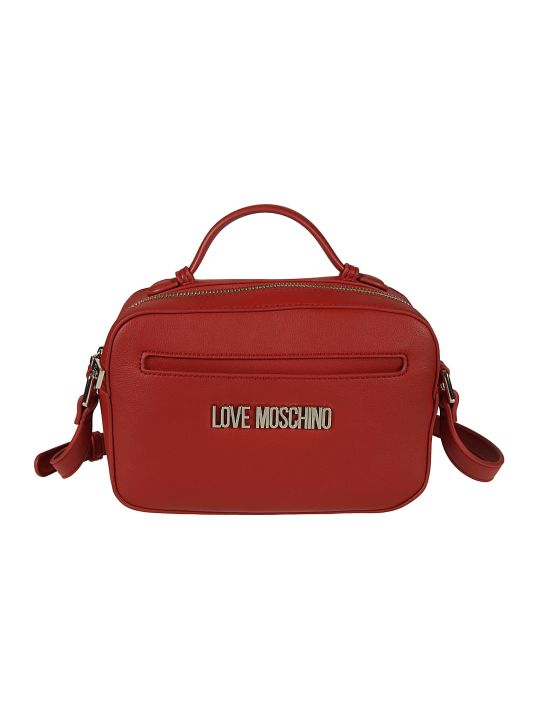 Love Moschino Top Zip Logo Plaque Shoulder Bag