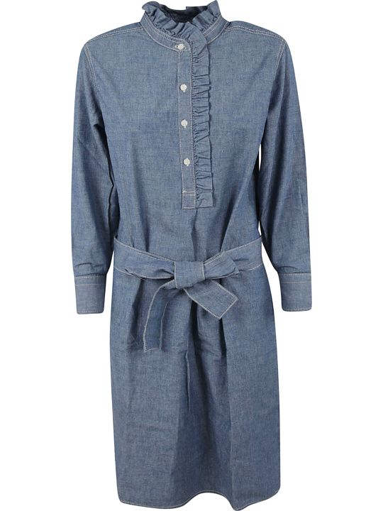 Tory Burch Ruffle Trim Shirt Dress