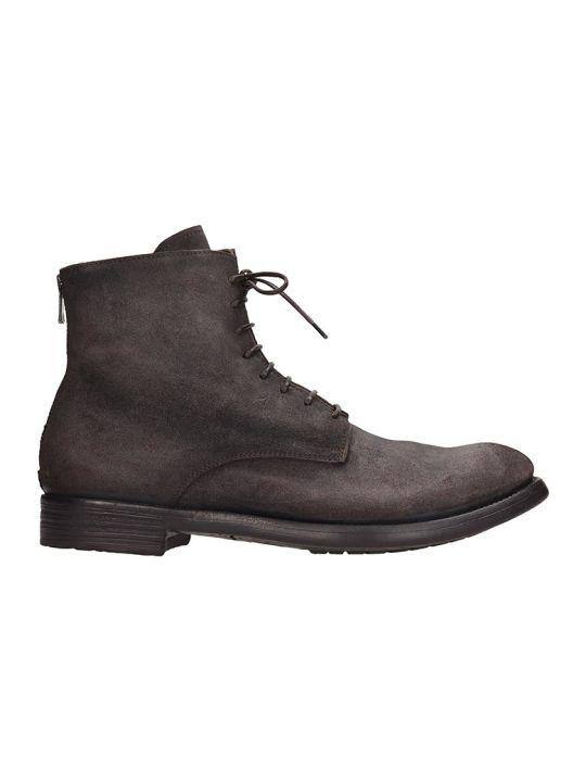 Officine Creative Hive Ankle Boots In Grey Suede