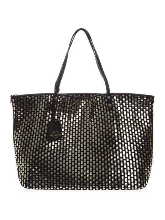 Love Moschino Black & Silver Woven Eco Leather Tote Bag