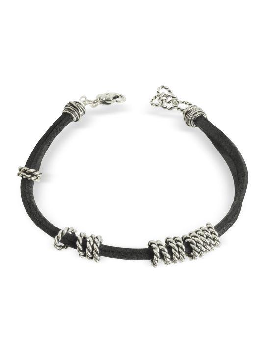 GIACOMOBURRONI Giacomo Burroni Leather Bracelet W/twisted Rings