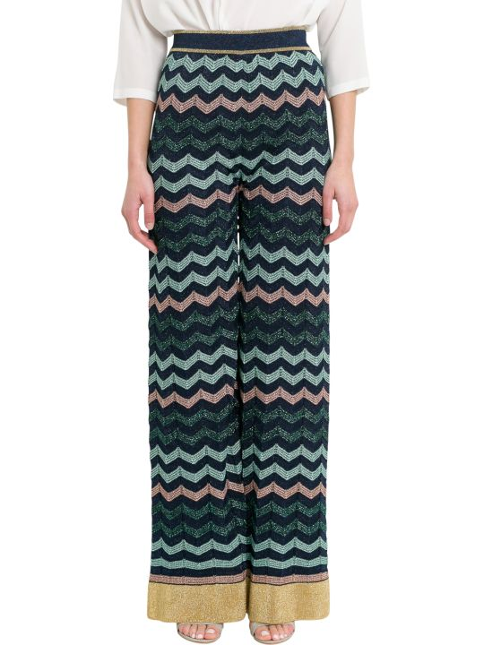 M Missoni Lurex Knit Wide Pants With Wave Motif