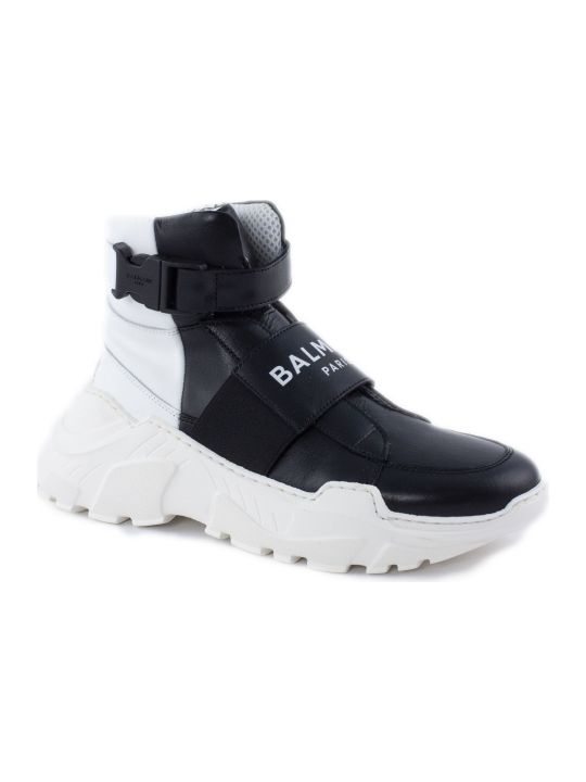 Balmain Black Leather High Top Trainers