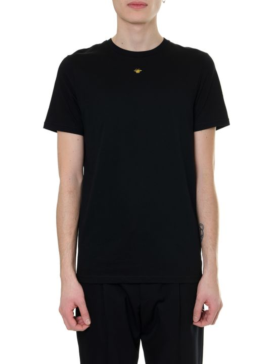 Dior Homme Black Cotton T-shirt With Iconic Bee Embroidered