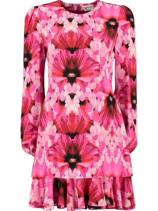 Alexander McQueen Printed Silk Mini Dress