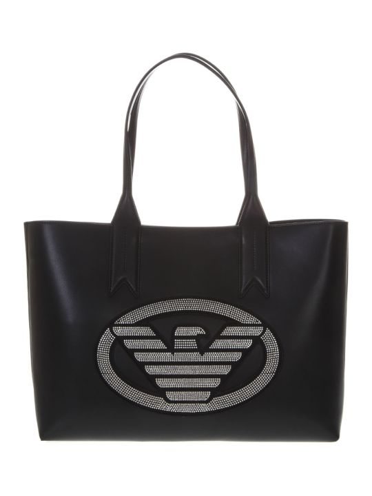 Emporio Armani Embellished Black Faux Leather Shopper Bag With Iconic Eagle Logo