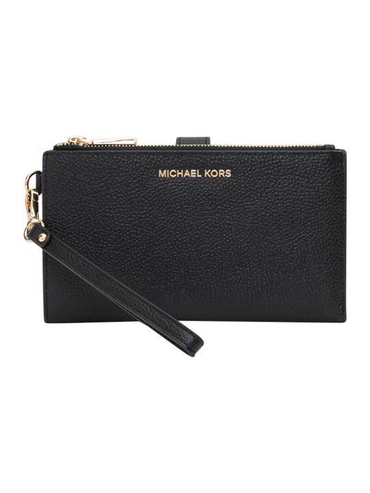 MICHAEL Michael Kors Jet Set Double Zip Wristlet In Mercer Pebble Leather 18k