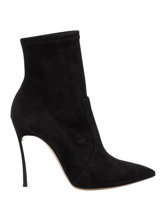 Casadei Suede Ankle Boots With Blade Heel