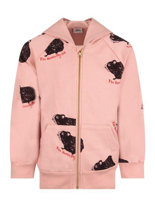 Mini Rodini Pink Girl Sweatshirt With Black Guinea Pig