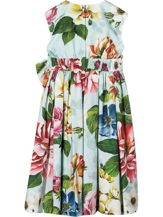 Dolce & Gabbana White Dress With Multicolor Press Dolce&gabbana Kids