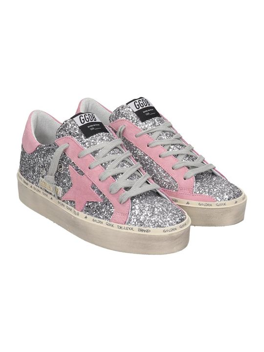 Golden Goose Hi Star Sneakers In Silver Glitter