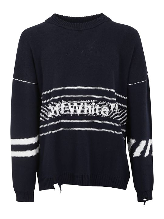 Off-White Off White Ripped Logo Sweatshirt