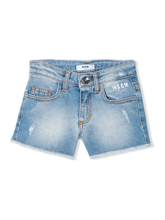 MSGM Light Blue Denim Shorts