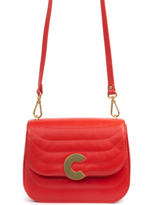Coccinelle Craquante Red Medium Quilted Leather Bag