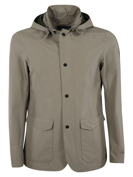 Herno Large Hood Buttoned Jacket